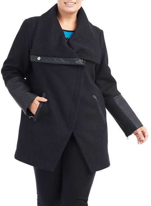 Wool Blend Asymmetrical Jacket, Black, hi-res