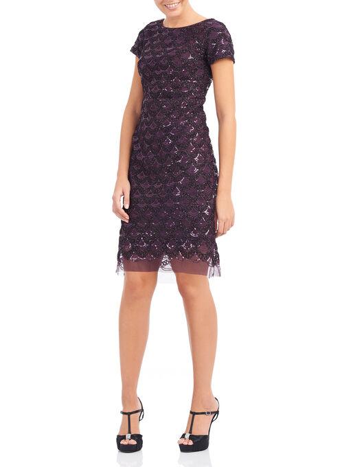 Short Sleeve Sequin Sheath Dress, Purple, hi-res