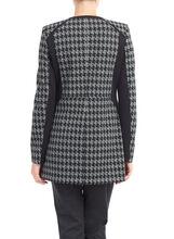 Knit Houndstooth Print Jacket, Black, hi-res