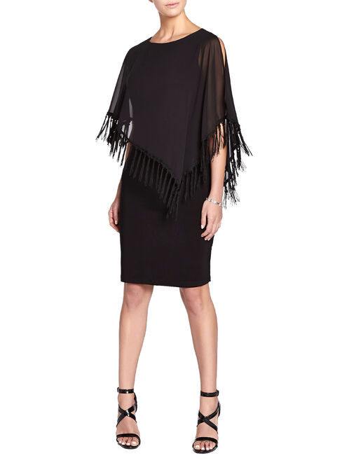 Jersey Fringe Poncho Overlay Gown, Black, hi-res