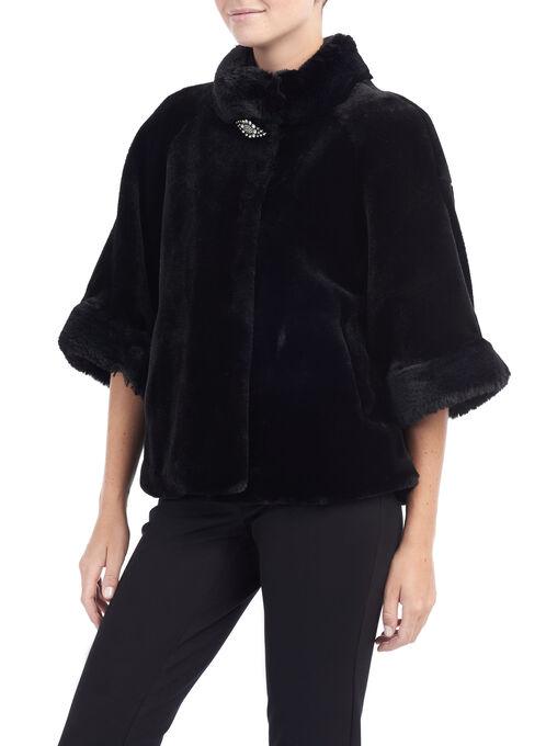 Faux Fur Rhinstone Cape Jacket, Black, hi-res