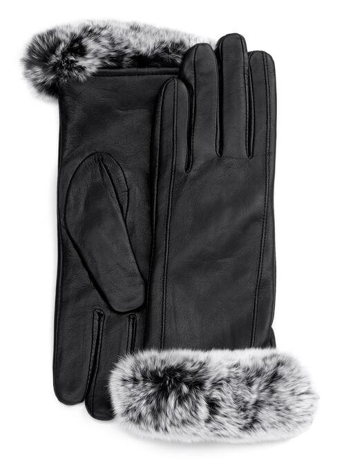 Leather & Rabbit Fur Gloves, Black, hi-res
