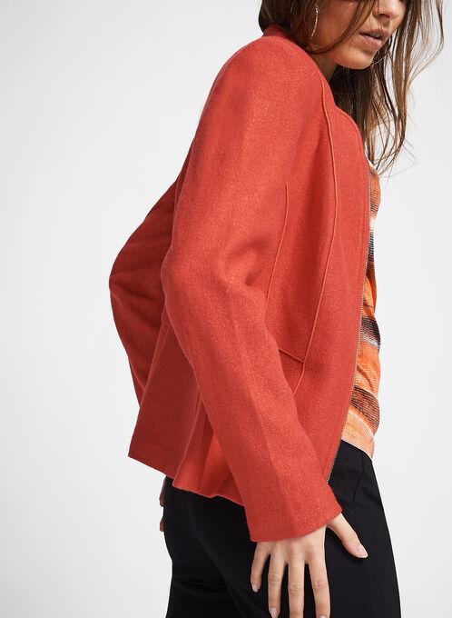 Wool Blend Piping Trim Jacket, Orange, hi-res