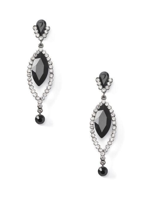 Tiered Dangle Stone Earrings, Black, hi-res