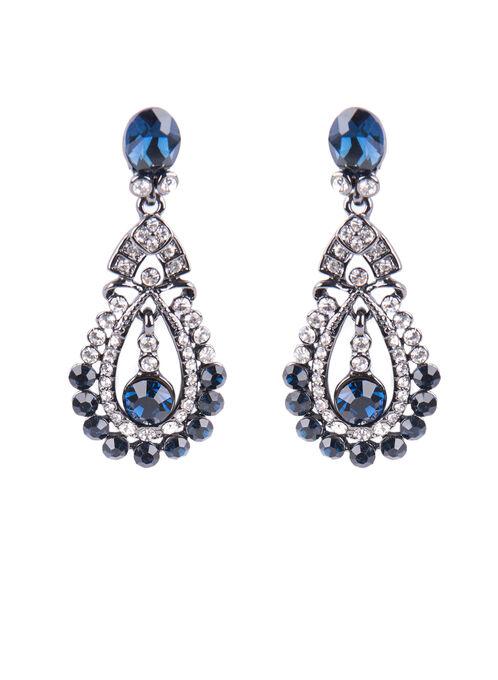 Crystal Chandelier Earrings , Blue, hi-res
