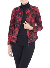 Floral Print Knit Jacket , Red, hi-res
