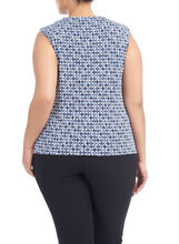 Sleeveless Twist Neck Print Top, Blue, hi-res