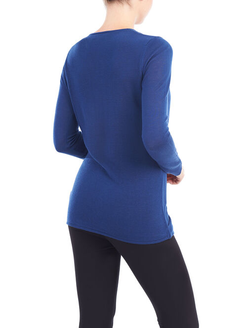 Scoop Neck Twist Detail Sweater, Blue, hi-res