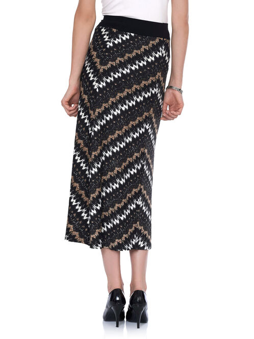 Abstract Print Maxi Skirt, Black, hi-res