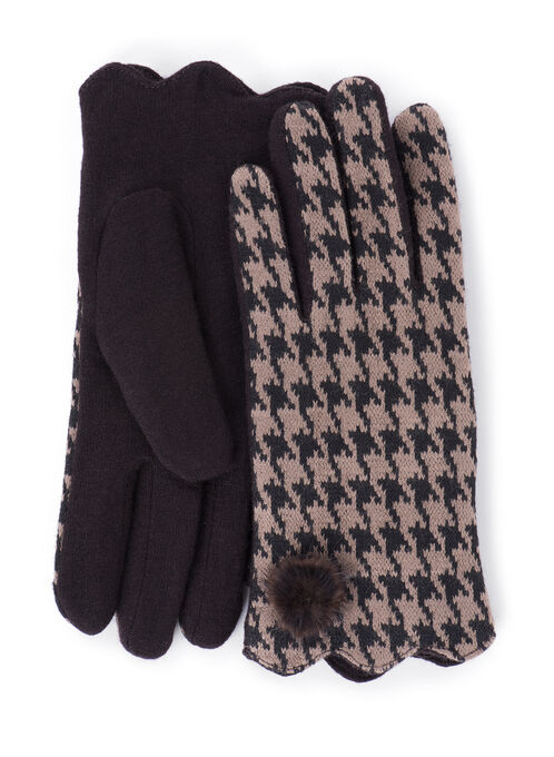Wool Blend Gloves with Pompom, Brown, hi-res