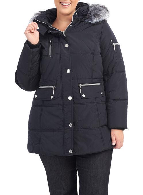 Novelti Faux Fur Polyfill Jacket , Black, hi-res