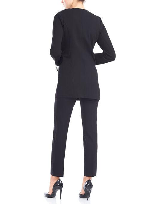 Ponte Redingote Jacket with Quilted Detail, Black, hi-res