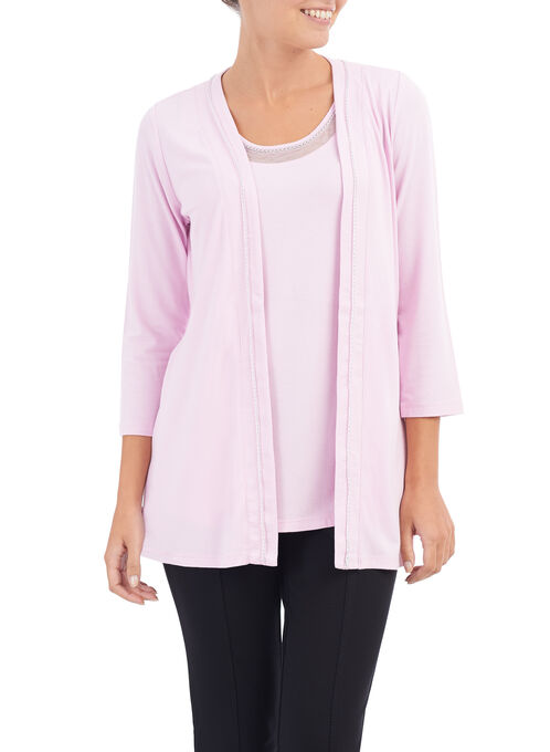 Long Sleeve Chain Trim Cardigan, Pink, hi-res
