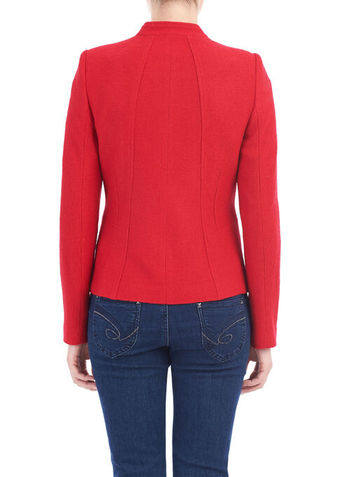 Wool Blend Zipper Detail Jacket, Red, hi-res