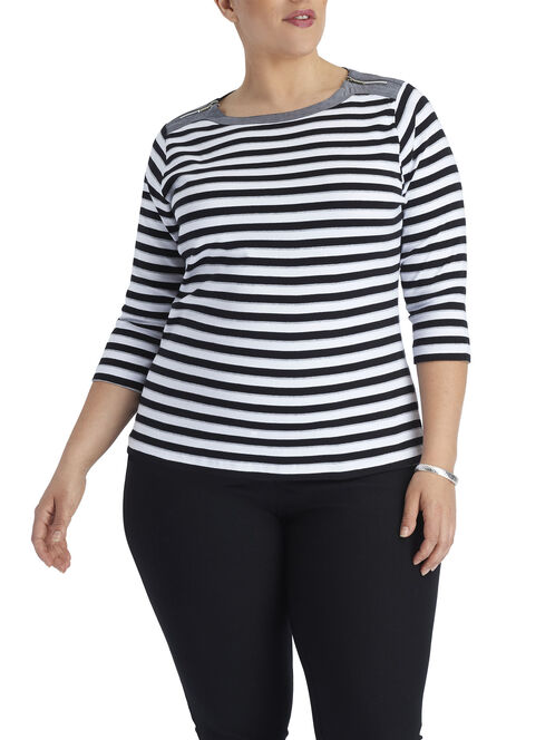 3/4 Sleeve Zipper Trim T-Shirt, Black, hi-res
