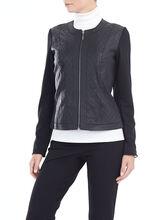 Quilted Detail Genuine Leather Jacket, Black, hi-res