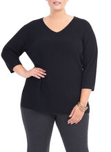 3/4 Sleeve Knit Tunic Top, Black, hi-res