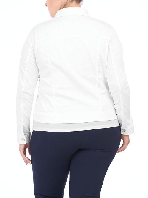 Cotton Sateen Notch Collar Jacket, White, hi-res