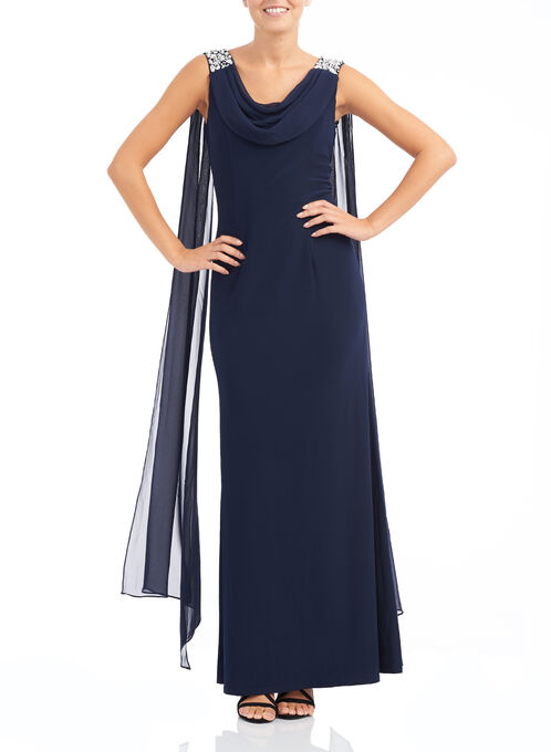 Beaded Chiffon Gown with Scarf, Blue, hi-res