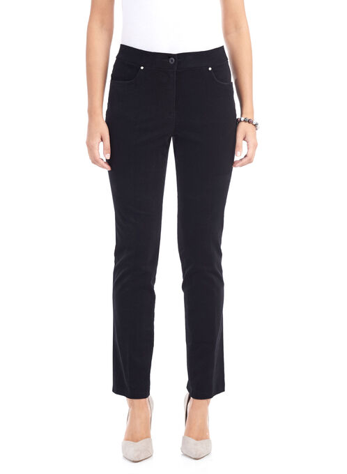 Corduroy Straight Leg Pants , Black, hi-res