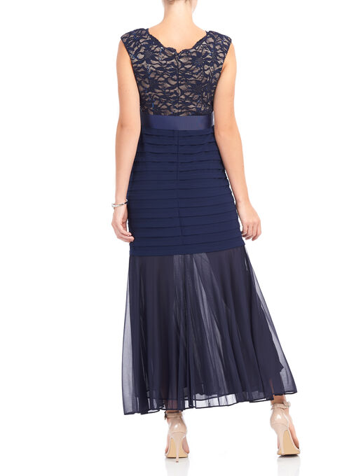 Sequined Lace Mermaid Gown , Blue, hi-res