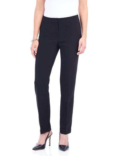 Faux Pocket Straight Leg Pants , Black, hi-res