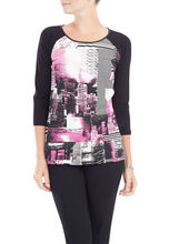 3/4 Sleeve Printed Scoop Neck Top, Black, hi-res