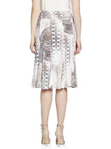 Paisley Print Gored Skirt with Chain Belt, Grey, hi-res