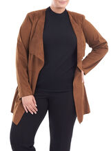 Faux Suede Draped Front Jacket , Brown, hi-res