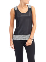 Sleeveless Faux Leather Top, Grey, hi-res