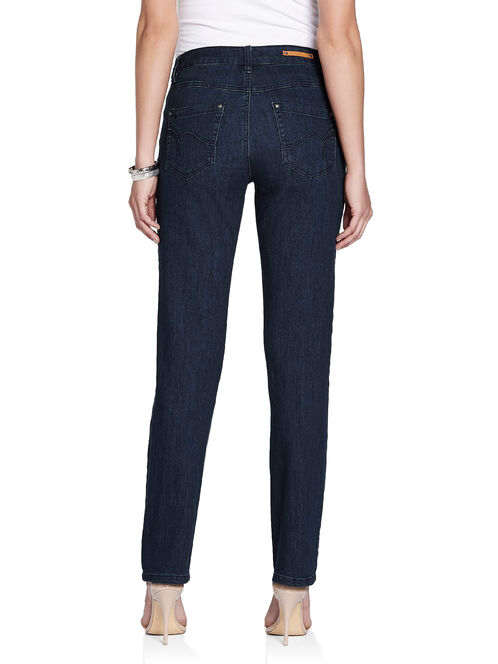 Simon Chang Swirl Stitch Straight Leg Jeans, Blue, hi-res