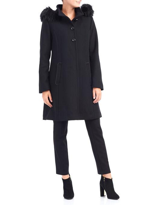 Novelti A-Line Wool Coat, Black, hi-res
