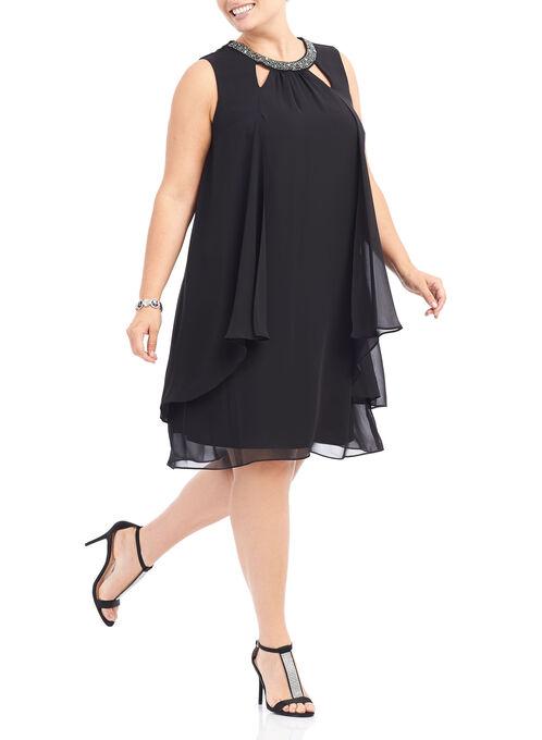 Chiffon Beaded Neck Dress, Black, hi-res