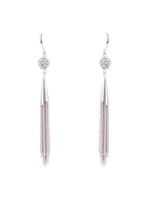 Crystal Chain Tassel Earrings , Silver, hi-res