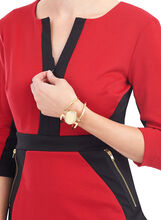 3/4 Sleeve Colourblock Dress, Red, hi-res