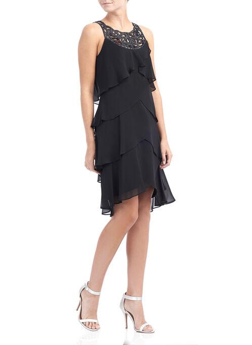 Sleeveless Beaded Neck Dress, Black, hi-res