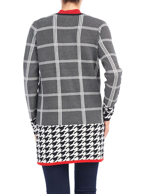 Houndstooth Print Knit Cardigan, Black, hi-res