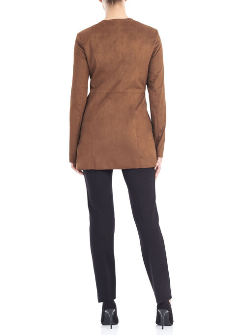 Flowy Collar Blazer Jacket, Brown, hi-res