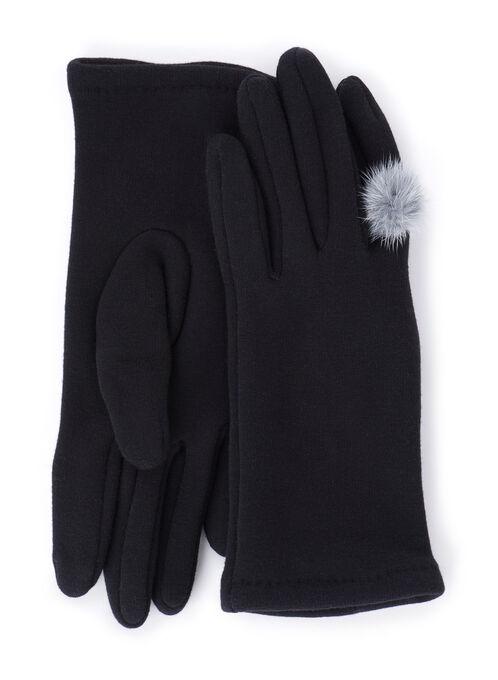 Knit Pompom Gloves, Black, hi-res