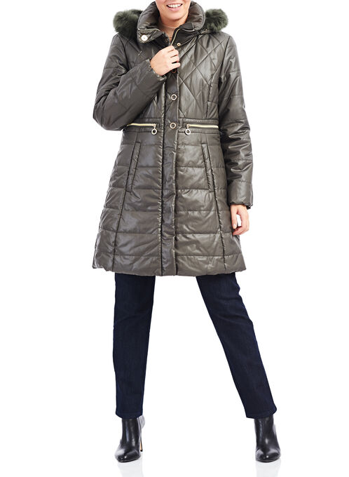 Marcona Faux Fur Polyfill Coat, Green, hi-res
