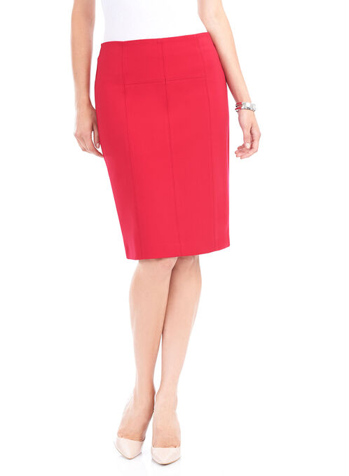 Ponte Pencil Skirt, Red, hi-res