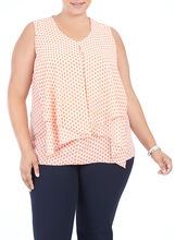Sleeveless Printed Tunic Blouse, Orange, hi-res