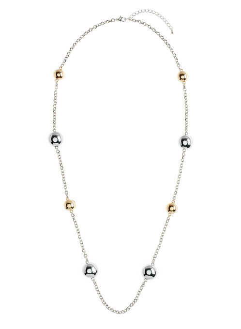Gold & Silver Chain Necklace, Yellow, hi-res