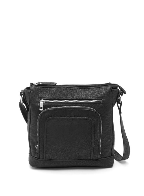 Zipper Trim Crossbody Bag, Black, hi-res