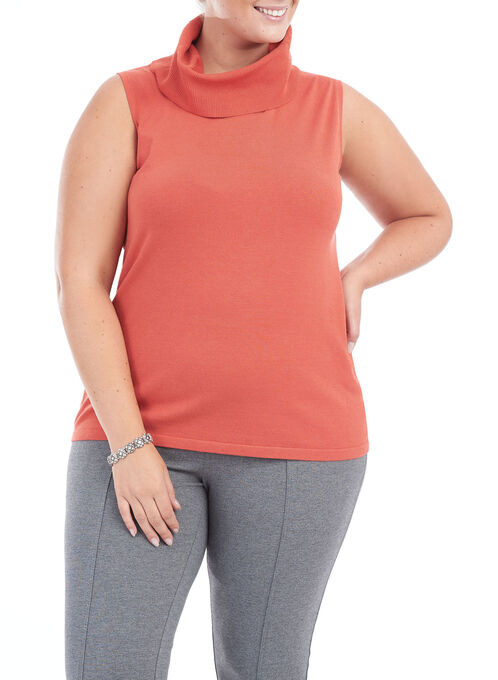Sleeveless Knit Turtleneck Top, Orange, hi-res
