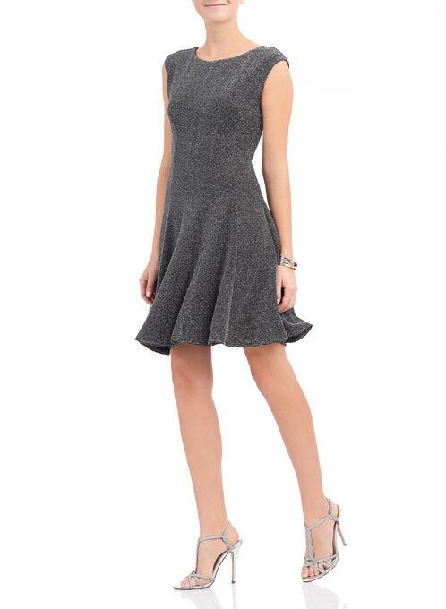 Glitter Knit Fit & Flare Dress, Black, hi-res