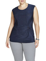 Gathered Buckle Detail Sleeveless Top, Blue, hi-res