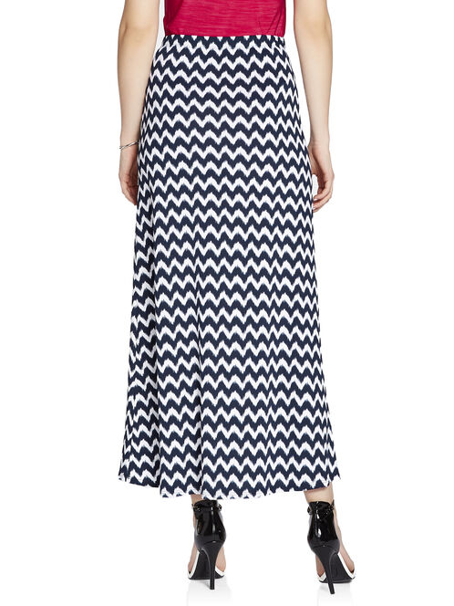Chevron Print Maxi Skirt, Blue, hi-res