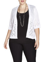 Pointelle Diamond Print Cover-Up, White, hi-res