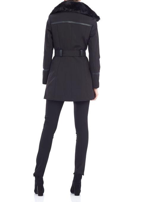 Softshell Belted Jacket , Black, hi-res